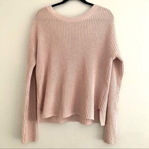 Garage knit sweater back lace up detail light pink